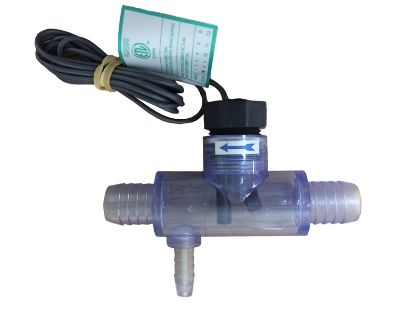 "FLOW SWITCH: MOUNTED IN TRANSPARENT TEE FITTING, 3/4"" BARBED, CURLED FINGER CONNECTORS, 2-PIN P 2560-040"