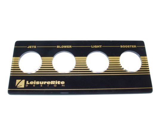BUTTON DECKPLATE: 4 BUTTON, BLACK/GOLD, LEISURE RITE