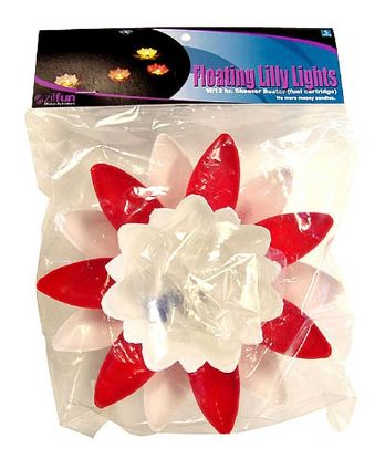 FLOATING LILY LIGHT: POINSETTIA RED AND WHITE WITH FUEL CARTRIDGE Z19PON