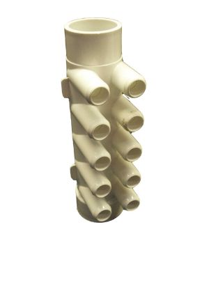 "MANIFOLD: 10-PORT FLO-THRU 1-1/2"" SPIGOT X 1-1/2"" SLIP X 3/4"" SMOOTH BARB 672-4680"
