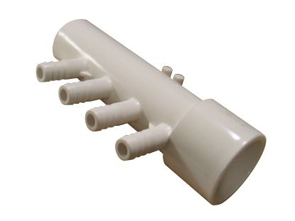 "MANIFOLD: 4-PORT 1"" SLIP X 1"" SPIGOT X (4) 3/8"" RIBBED BARB WITH 2 PLUGS 4APM1XSP"