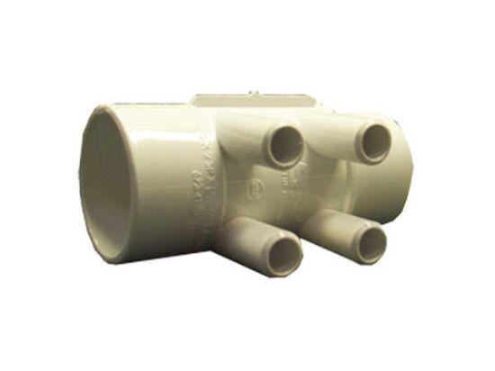 "MANIFOLD: 4-PORT FLO-THRU 2"" SLIP X 2"" SPIGOT X 3/4"" SMOOTH BARB 672-4160"