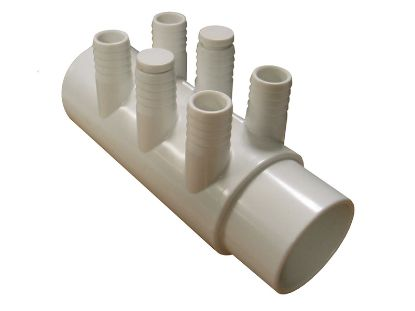 "MANIFOLD: 6-PORT 2"" SLIP X 2"" SPIGOT X (6) 3/4"" BARB WITH 2 PLUGS WM2XSP-6P"