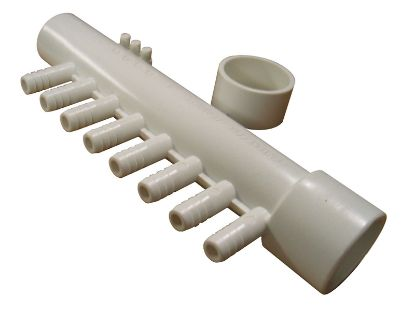 "MANIFOLD: 8-PORT 1"" SLIP X 1"" SPIGOT X (8) 3/8"" RIBBED BARB WITH 3 BARB PLUGS AND CAP 8PSM1XSP"