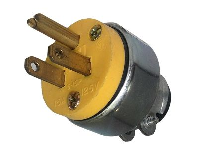 NEMA PLUG: 125V 15A 3-WIRE 2 POLE WITH CORD CLAMP 2867 YELLOW