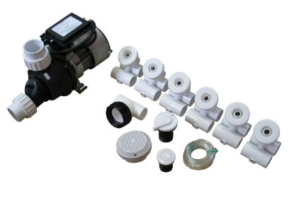 PUMP / PLUMBING JETTED TUB ASSEMBLY KIT: SLIMLINE WHITE WITH .75HP PUMP