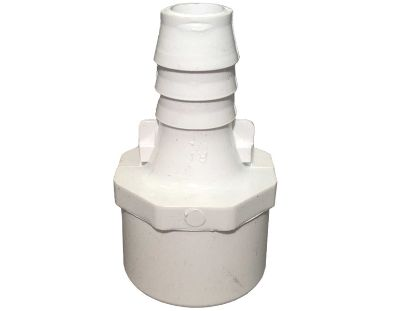 "PVC ADAPTER: 1"" SLIP OR 1-1/4"" SPIGOT X 3/4"" RIBBED BARB 672-4320"