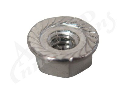 SKIMMER PART: STAINLESS NUT,  #10-24 SERRATED WITH FLANGE 2570-061