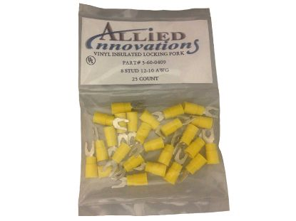 WIRE TERMINAL: FORK #12-10 - 8 STUD - YELLOW (25/BAG) LFV8Y