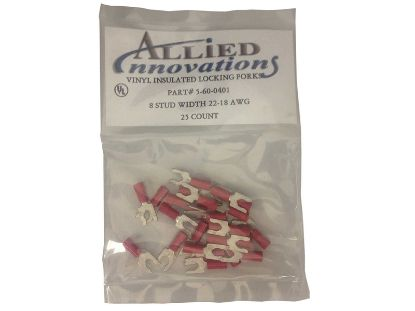 WIRE TERMINAL: FORK - #22-18 - 8 STUD - RED (25/BAG) LFV8R